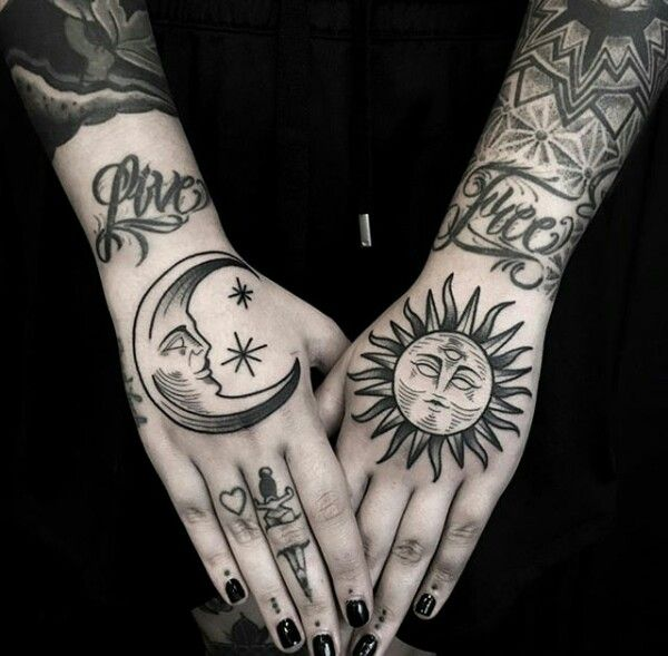 Sun And Moon Hand Tattoos Tattoos Inspirational Tattoos Trendy Tattoos