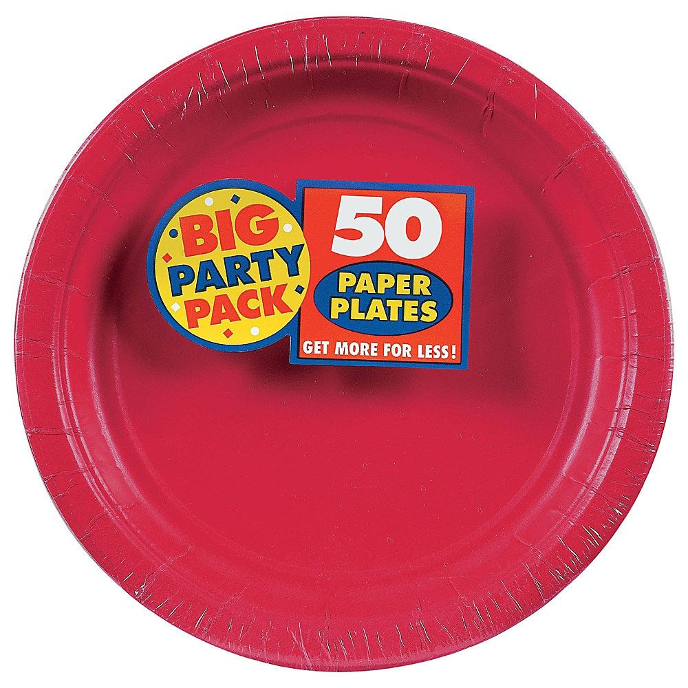 Amscan Big Party Pack 9 Round Paper Plates Apple Red 50 Plates