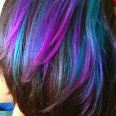 Layer turquoise and plum tones together to create this gorgeous hair color.  MERMAID HAIR You can find the colors on amazon.com