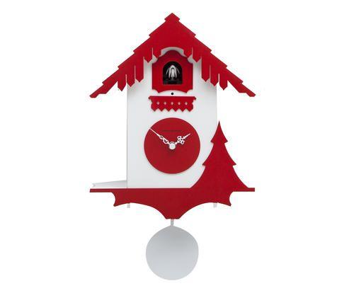 Orologio a cucu da parete il legno laccato Colore rosso vivo 6500 ...
