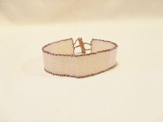 Handwoven Blonde and Copper Peyote Stitch Cuff by Misteltoeholler, $60.00