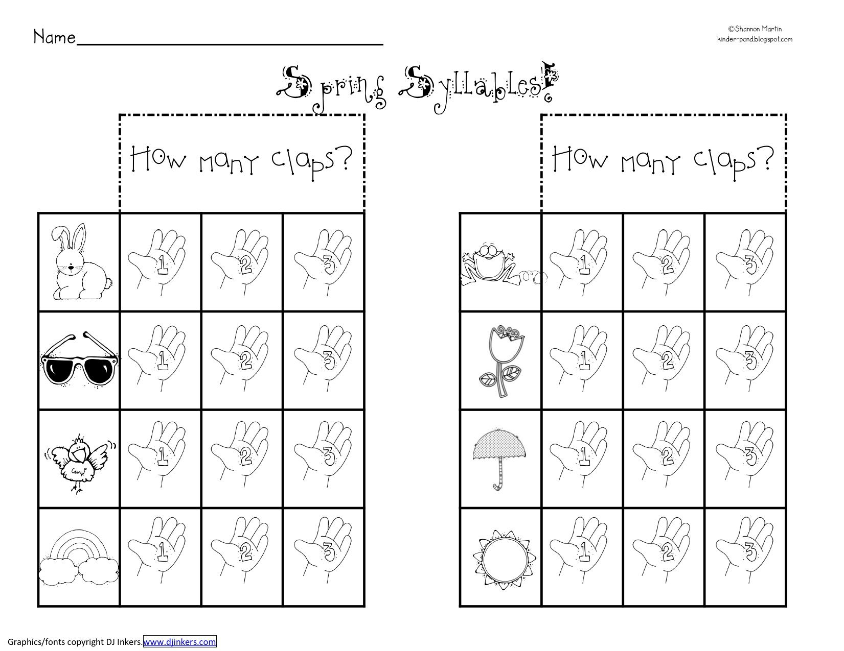 Kindergarten Syllable Worksheets