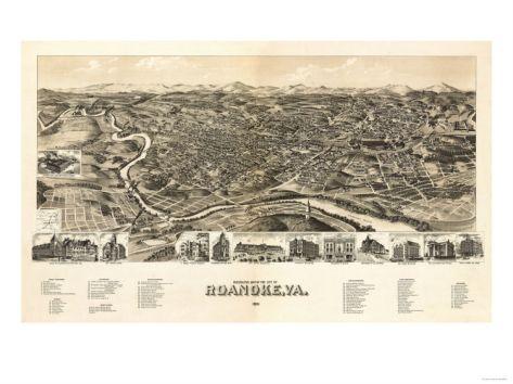 Roanoke, Virginia - Panoramic Map Print at Art.com