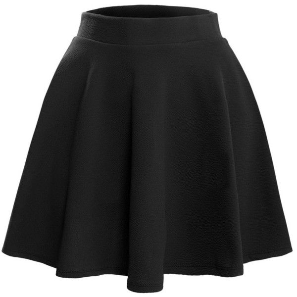 LE3NO Womens Textured Flared Skater Skirt ($14) ❤ liked on Polyvore featuring skirts, textured skirt, circle skirt, skater skirts, flared hem skirt and flare skirt