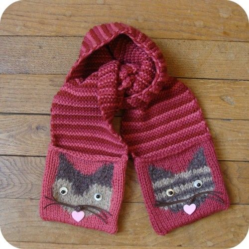 tricoter une echarpe chat