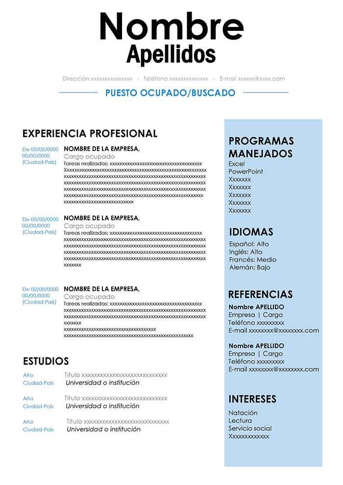 Nuevo Formato De Hoja De Vida Para Rellenar Descarga Gratis Plantillas De Curriculum Vitae Para Word Formato De Curriculum Vitae Modelos De Curriculum Vitae