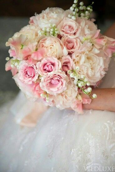 sweet romantic bridal bouquet which features pink tea roses creamy blush garden roses - Blush Garden Rose Bouquet