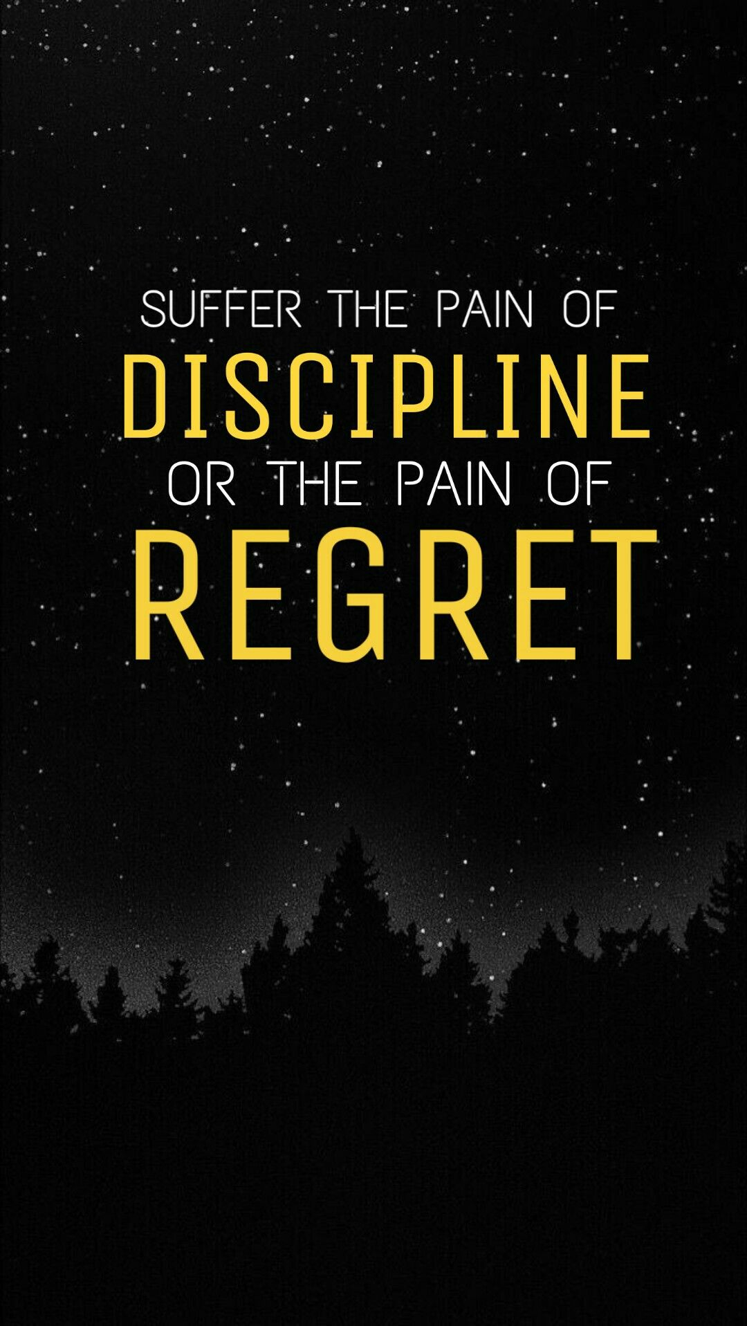 """ Suffer the pain of Discipline or the pain of Regret "" an"
