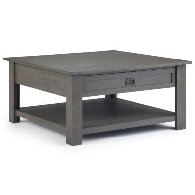 Simpli Home Monroe Solid Acacia Wood 38 In Wide Square Rustic Contemporary Square Coffee Table In Farmhouse Grey Axcmon 02 Fg In 2020 Coffee Table Grey Contemporary Coffee Table Rustic Contemporary