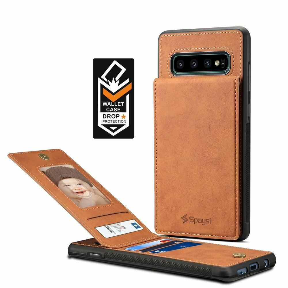 promo code 4bcbc 313a7 Samsung Galaxy S10 Plus Case Wallet Card Holder Folio Leather Cover ...