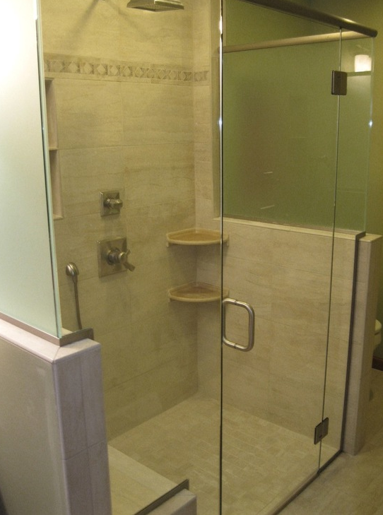 Barrier free walk-in shower for accessiblity. No curb to step over ...