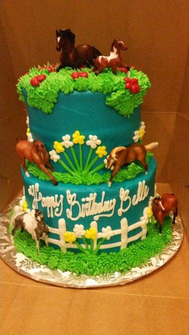 Breyer horses used as cake topper. Horse birthday cake