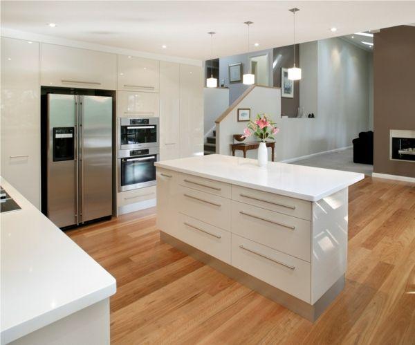 Küche in Weiss mit Hochglanz | Küchen | Pinterest | Moderne küchen ... | {Kücheninsel mit sitzgelegenheit 18}
