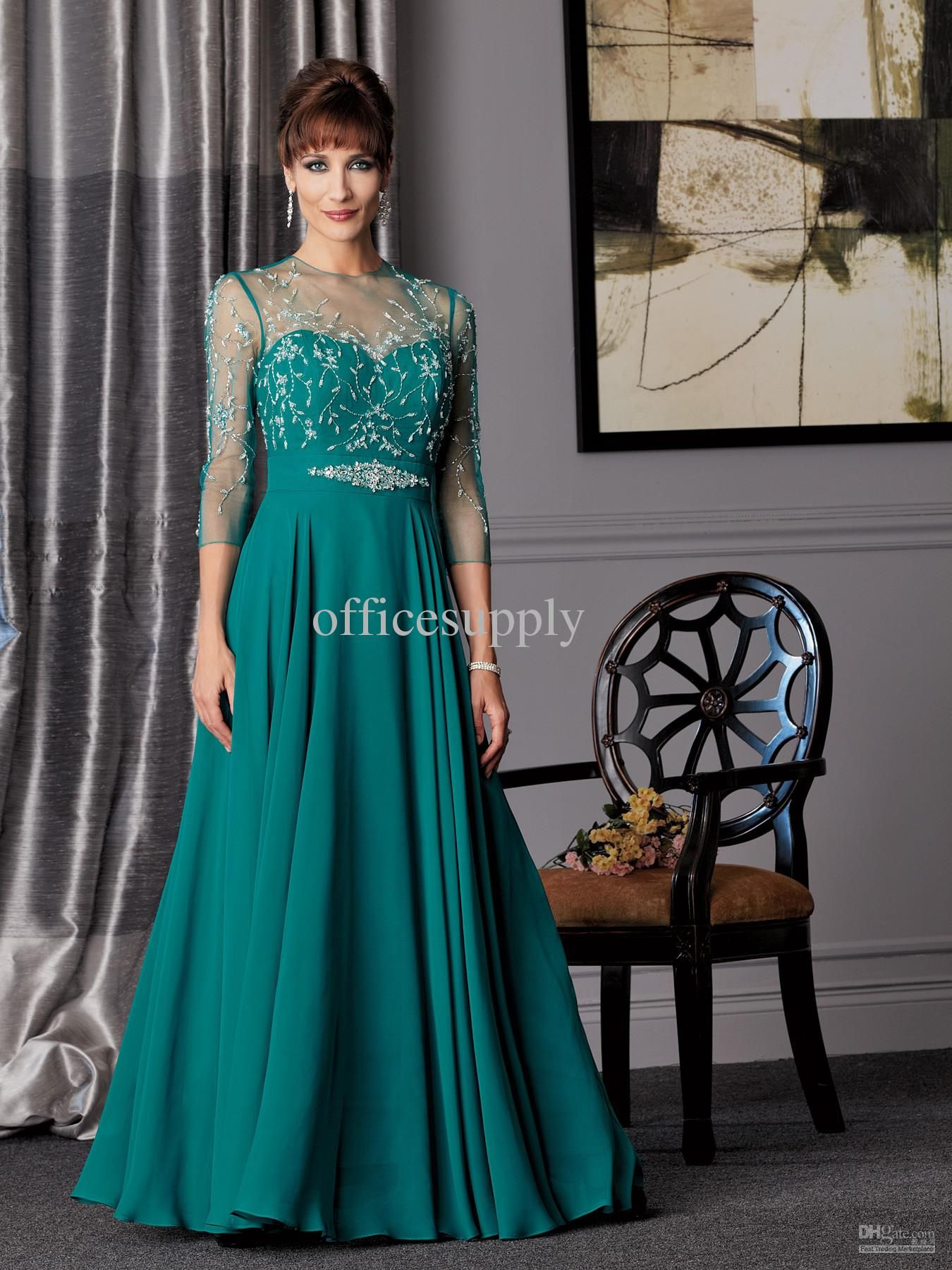 Wholesale Bride Dress - Buy Peacock A Line Chiffon Mother of the ...
