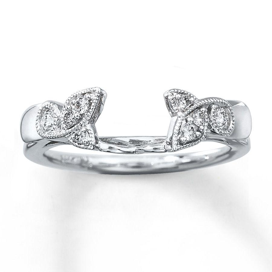 Diamond Enhancer Ring 1 6 Ct Tw Round Cut 14k White Gold Kay