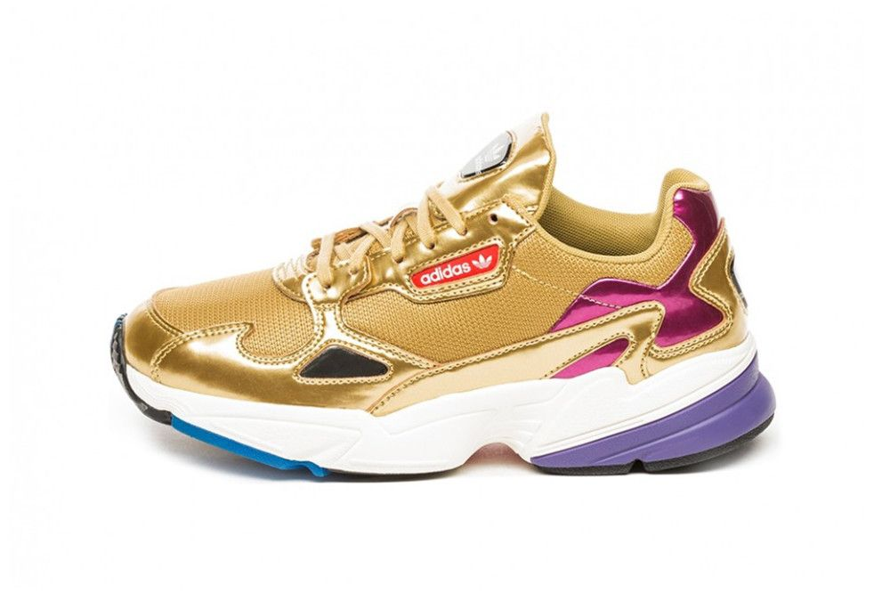 buy online fc961 97a51 adidas Originals Falcon Metallic Gold Women s Chunky 90s Sneakers Trainers