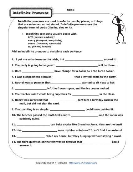 Indefinite Pronouns | Pronoun worksheets, Worksheets and Sentences