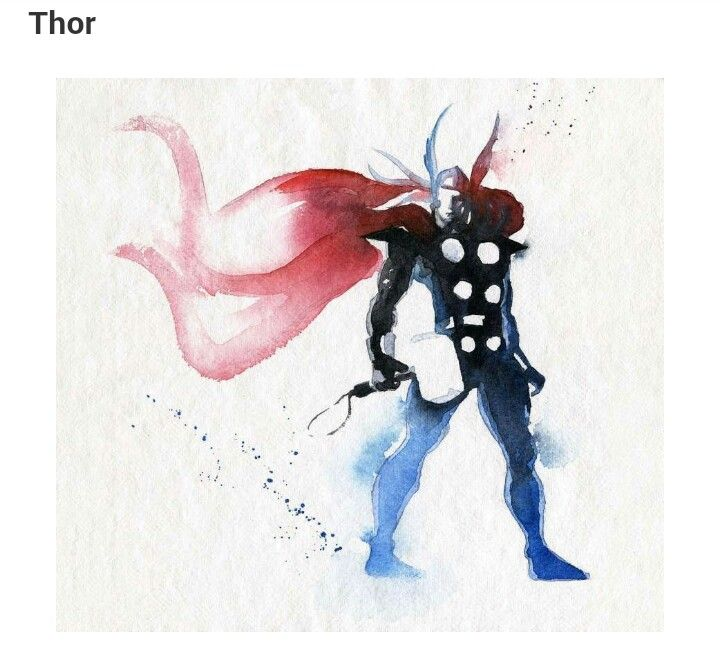 Thor Watercolor by Clementine Blule   Comic photo sets