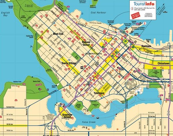 awesome Map of Vancouver Tourist Travelquaz Pinterest