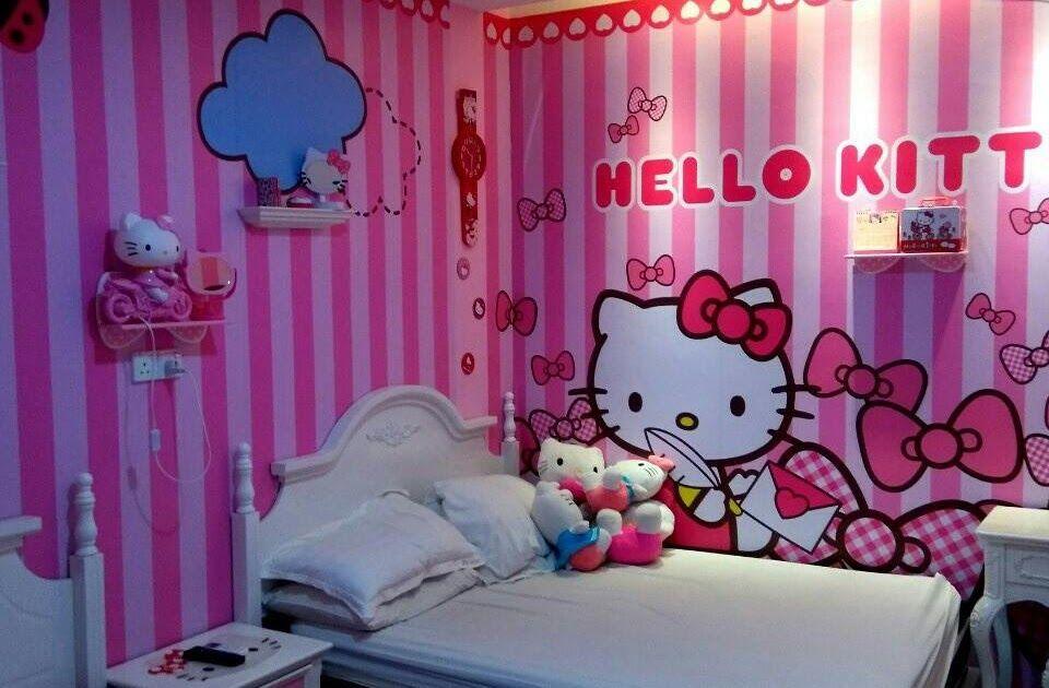 Wallpaper Dinding Kamar 3d Pink