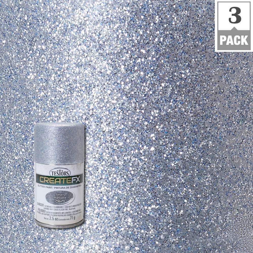 Testors Createfx 2 5 Oz Silver Glitter Spray Paint 3 Pack