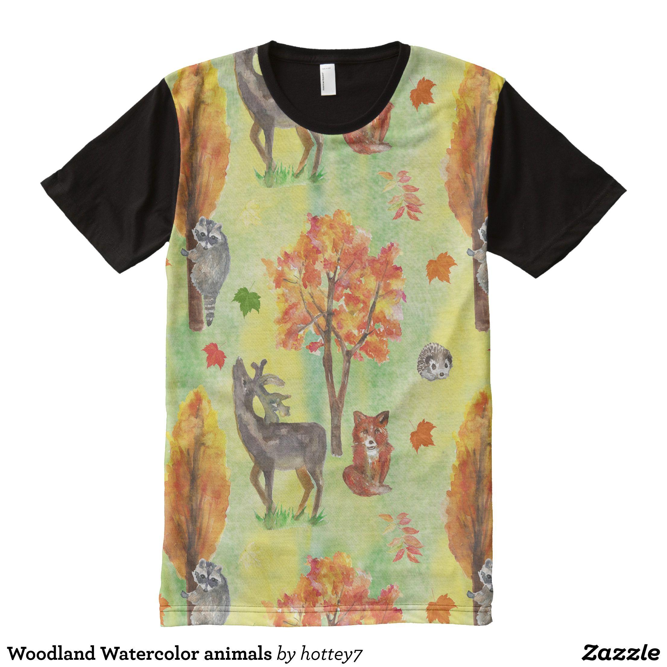 Woodland Watercolor Animals All Over Print Shirt Visually