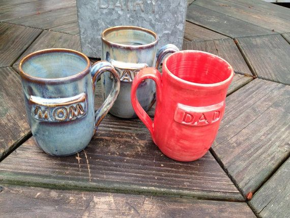 Mom Dad mugs from Northern Woods Pottery on etsy https://www.etsy.com/listing/168714349/mom-dad-name-mug-ready-to-ship