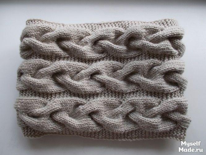 Как вязать шарф из косы спицами