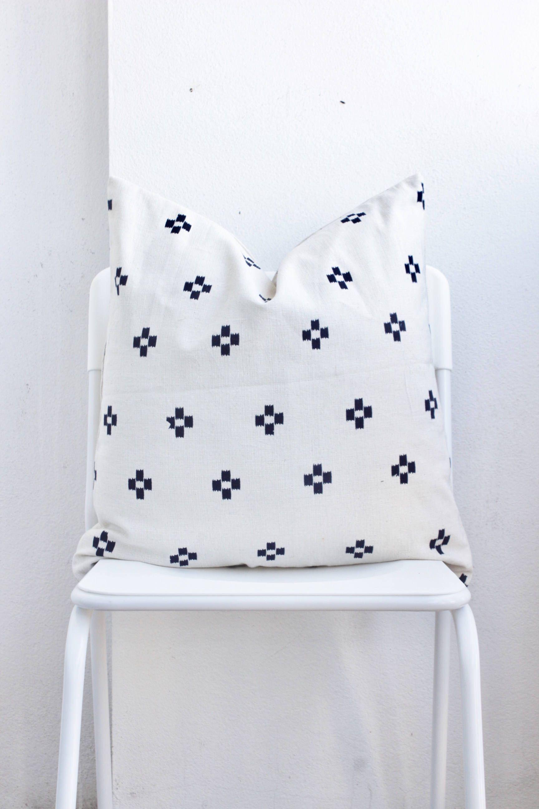 White Indigo Dot Block Print Mudcloth Hmong Pillow Case