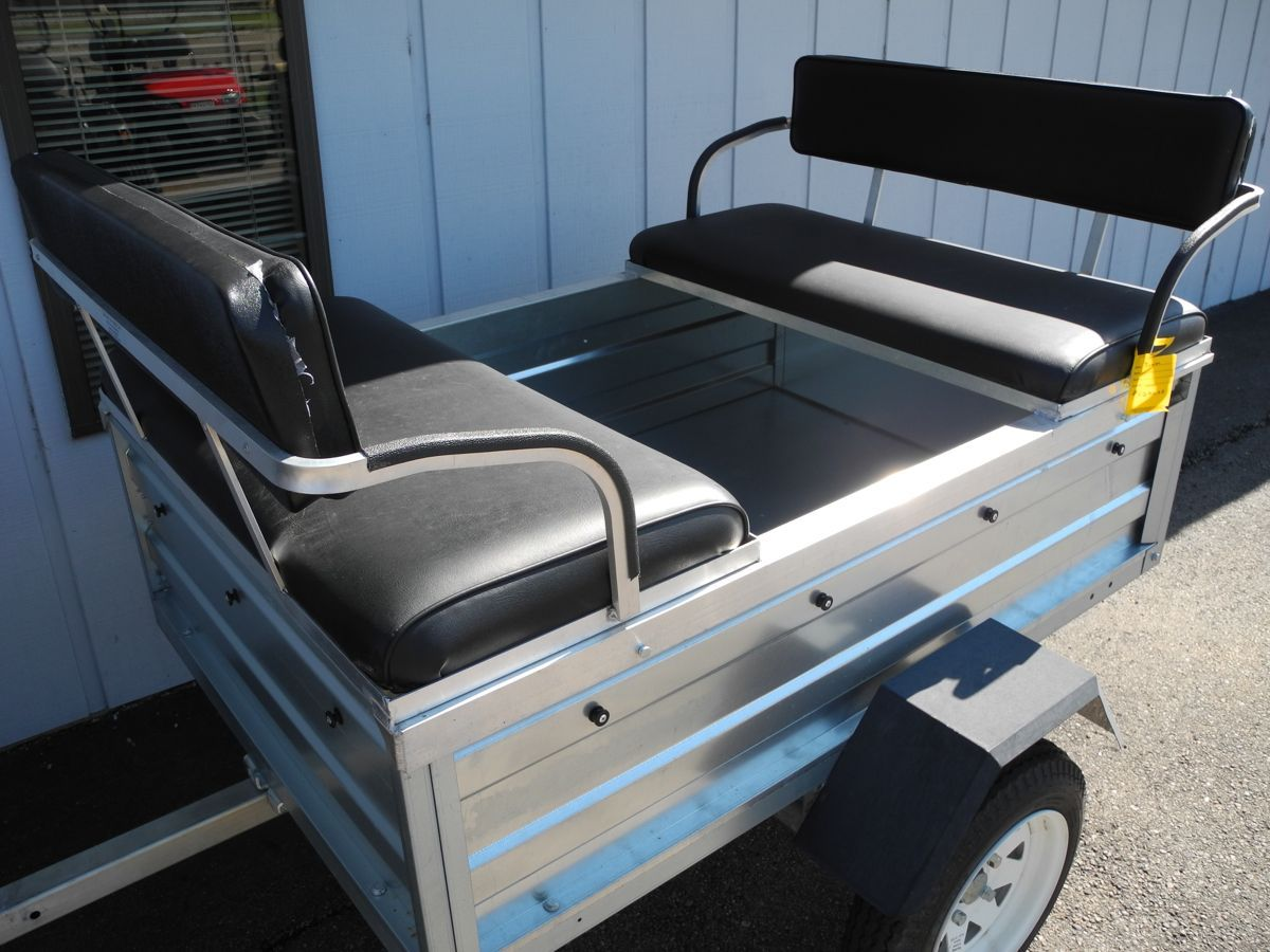 Our 4 Passenger Convertible Tram Trailer Is A Practical And Affordable Way To Haul Both People And Stuff Around Passengers Trailer Atv Trailers Utility Trailer