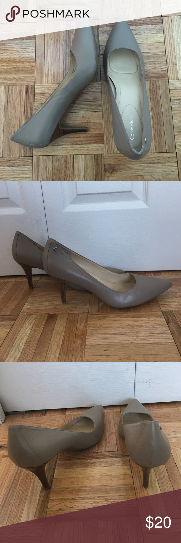 """Calvin Klein Nude 3"""" heels 3 inch heel Calvin Klein heels in nude. Wood heel. Worn once. Calvin Klein Shoes Heels"""