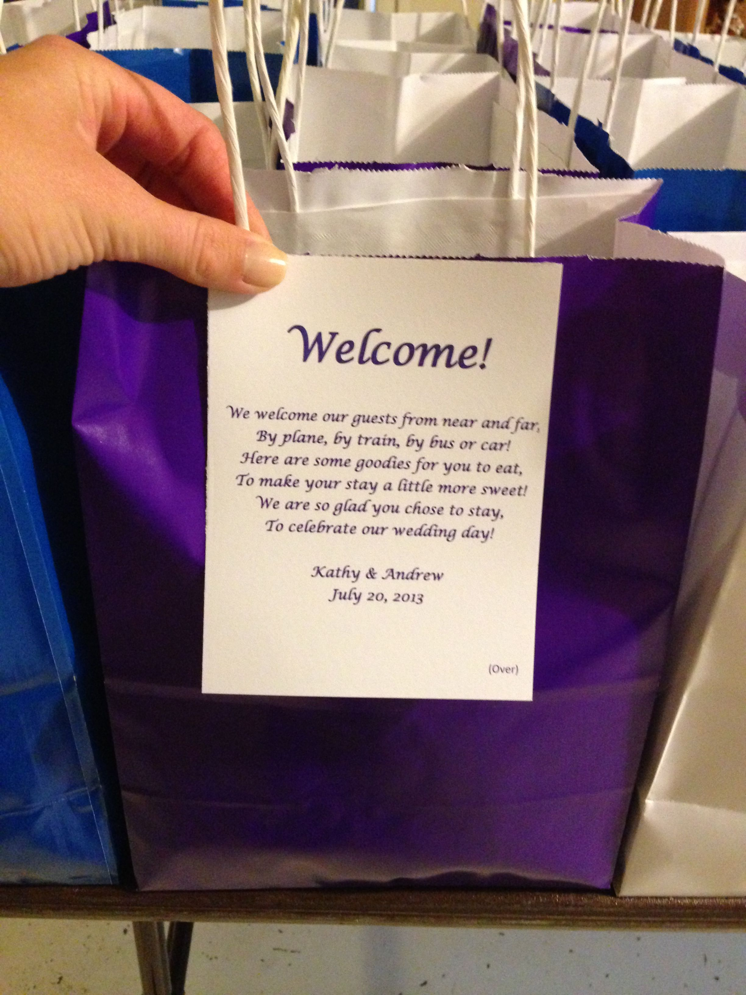 Hotel Welcome Bag Note Purple And Blue Wedding