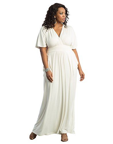 deca81d85628 Kiyonna Womens Plus Size Indie Flair Maxi Dress 4X White Jasmine -- To view  further for this item