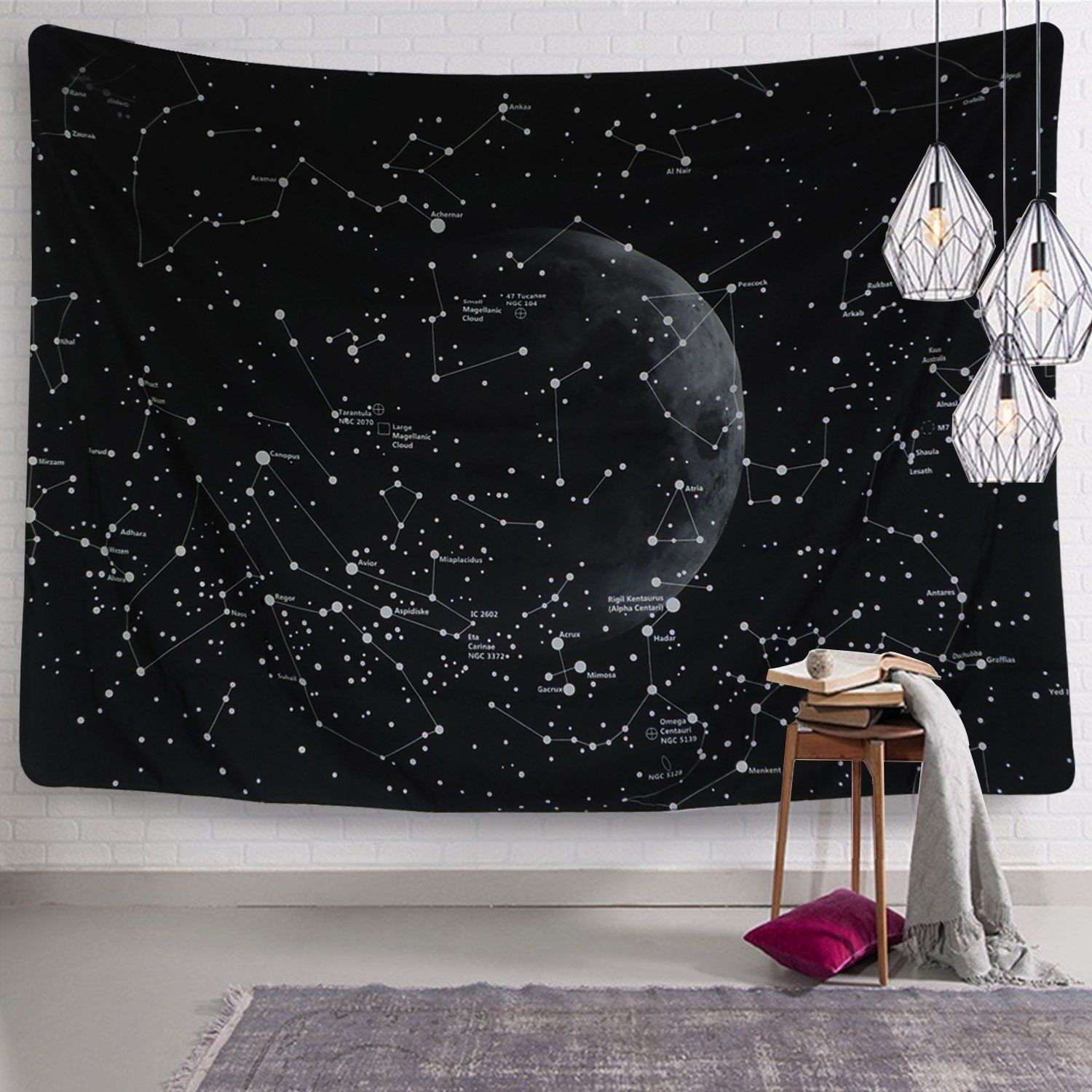 Moon Constellations Tapestry Wall Tapestry Bohemian Wall Hanging Tapestries Wall Blanket Wall Art Wa Constellation Tapestry Tapestry Wall Art Indian Wall Decor