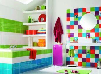 deco-carrelage-colore-salle-bain | Maison | Pinterest