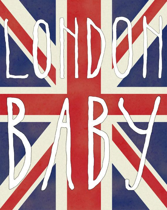 London Baby Hand Lettered Typography Print 8x10 Print