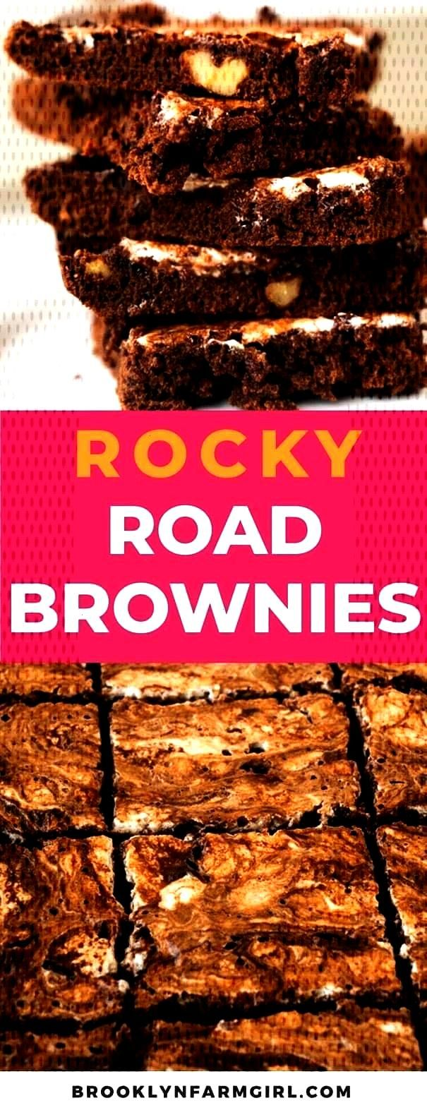Brownies - Brooklyn Farm Girl These Rocky Road Brownies are rich and fudgy bars loaded with walnuts