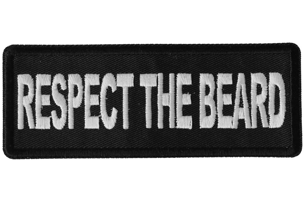 Embroidered Respect The Beard Sew or Iron on Patch Biker Patch
