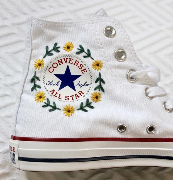 Logo floral brodé CONVERSE en 2020 | Broderie sur vetement ...
