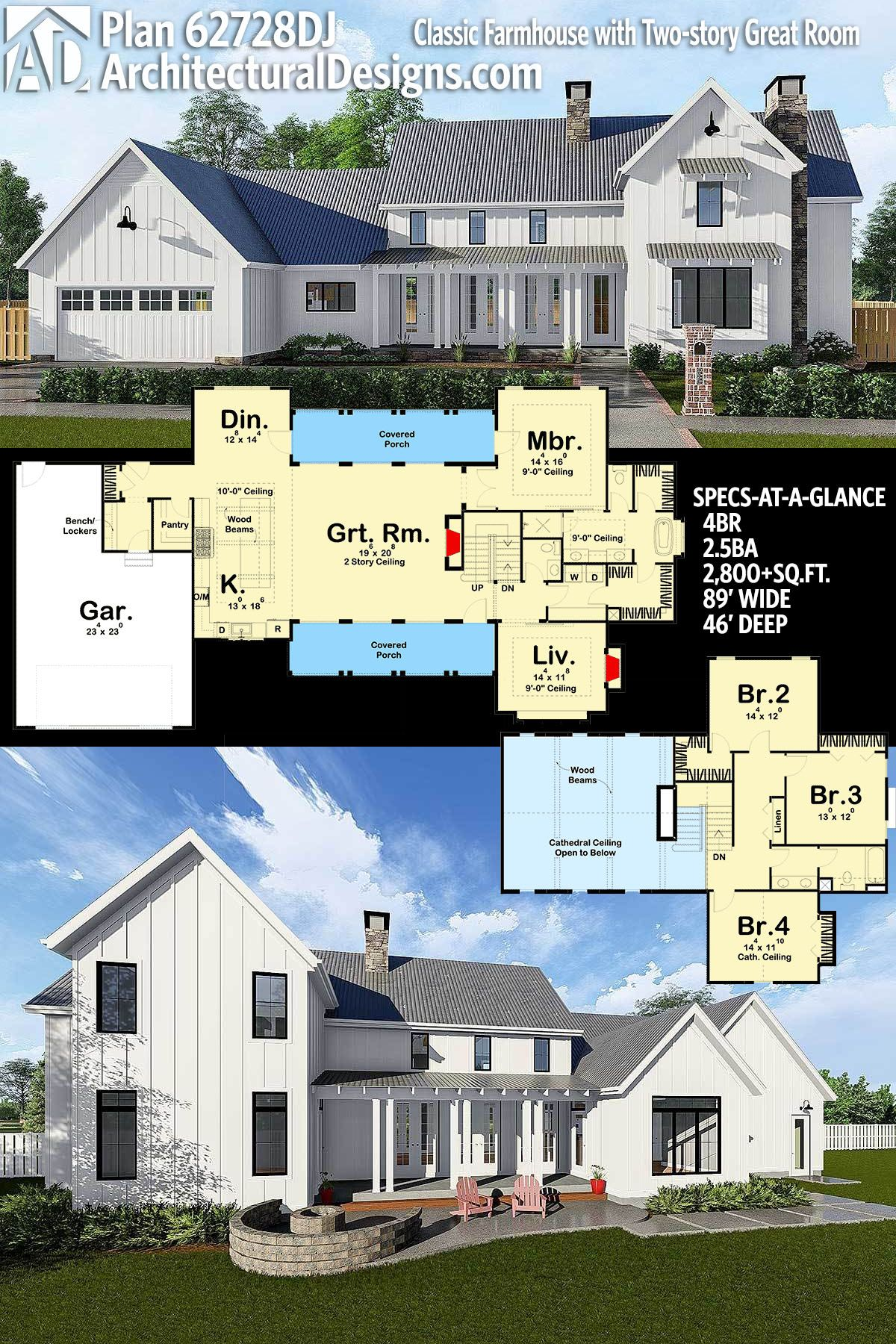 Plan 62728dj Classic Farmhouse With Two Story Great Room Modern Farmhouse Plans Farmhouse Plans House Plans