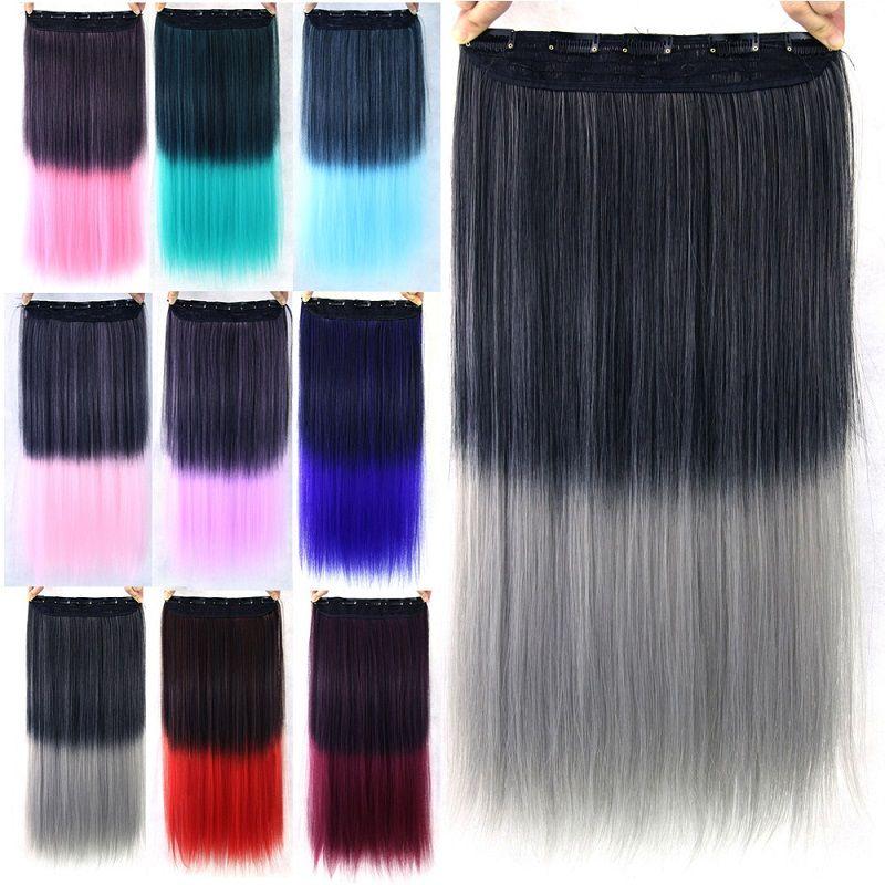 60cm Long Women Hair Extensions Premium Now High Tempreture Natural Straight Fiber Synthetic H Hair Extension Clips Colored Hair Extensions Cheap Braiding Hair