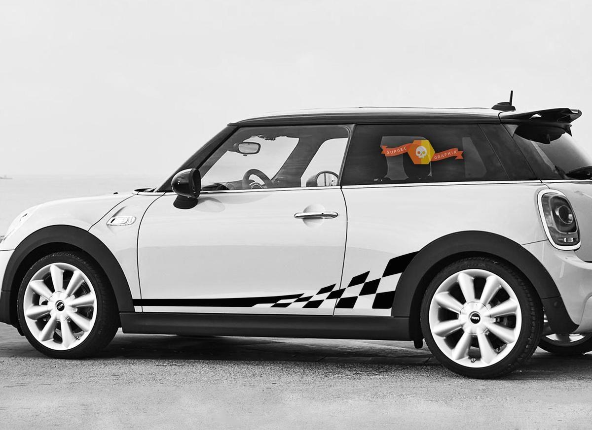 Mini Cooper F56 2014 2015 Checkered Flag Side Stripes Graphics Decals Mini Cooper Mini Cooper Custom Side Stripe [ 873 x 1200 Pixel ]