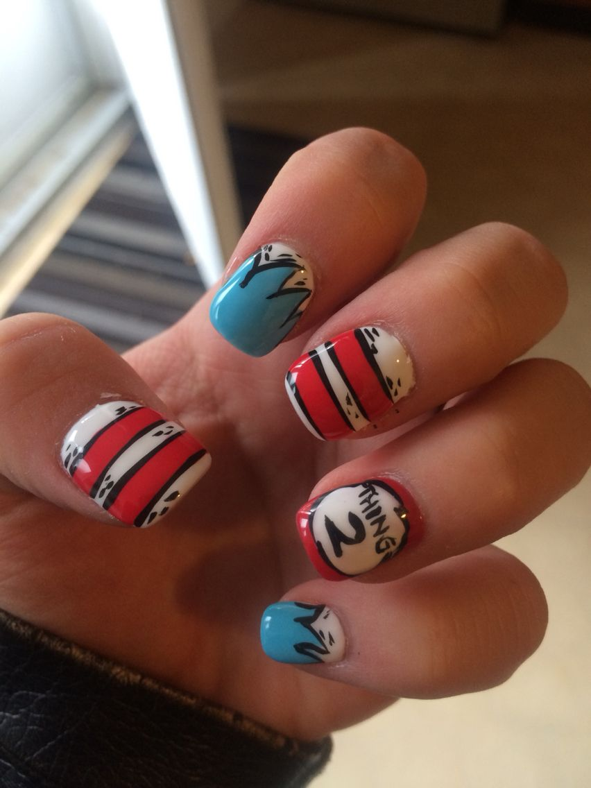 Dr Seuss Nails Nail Art Ideas Pinterest Kid Nails Mani Pedi