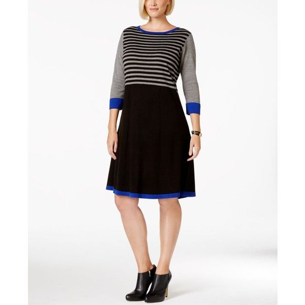 8c79c2aa5a776 Jessica Howard Plus Size Colorblock Striped Sweater Dress ($62) ❤ liked on  Polyvore featuring plus size fashion, plus size clothing, plus size dresses,  ...