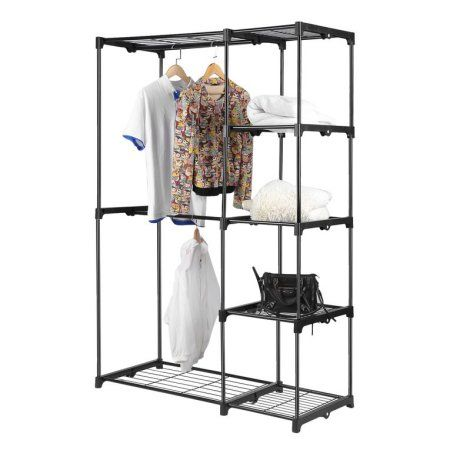 Clothes Rack Double Rod Closet Wardrobe Free Standing Garment Rack Clothe Storage Organizer Black Garment Racks Portable Clothes Rack Wardrobe Closet