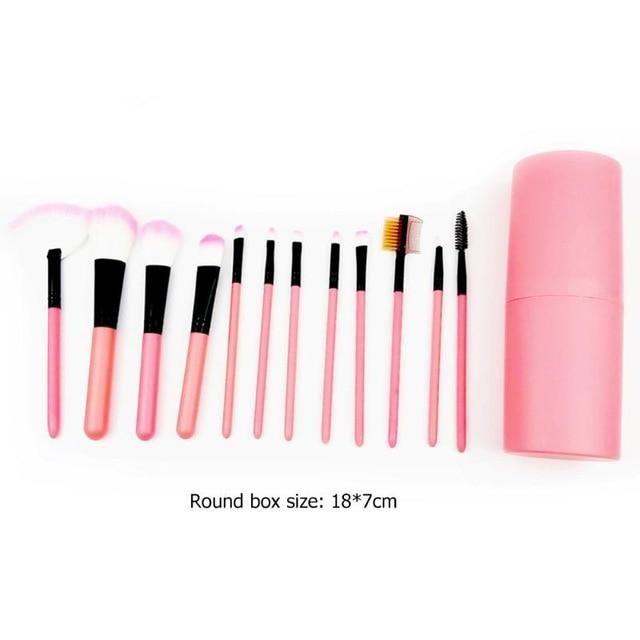 12Pcs Make Up Pinsel – USA / Pink