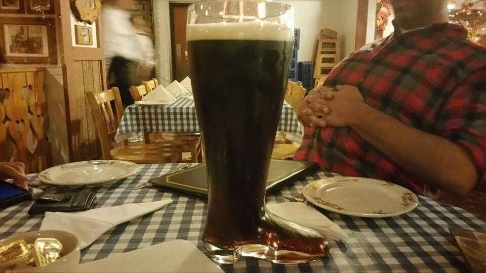 Gastov's Dahs boot! Largest beer in the coolest glass.