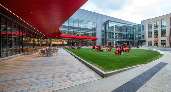 The elevated outdoor courtyard serves the heart of the headquarters the elevated outdoor courtyard serves the heart of the headquarters image courtesy of american greetings m4hsunfo