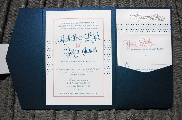 Royal blue turquoise coral gray dots border angled for Royal blue and coral wedding invitations