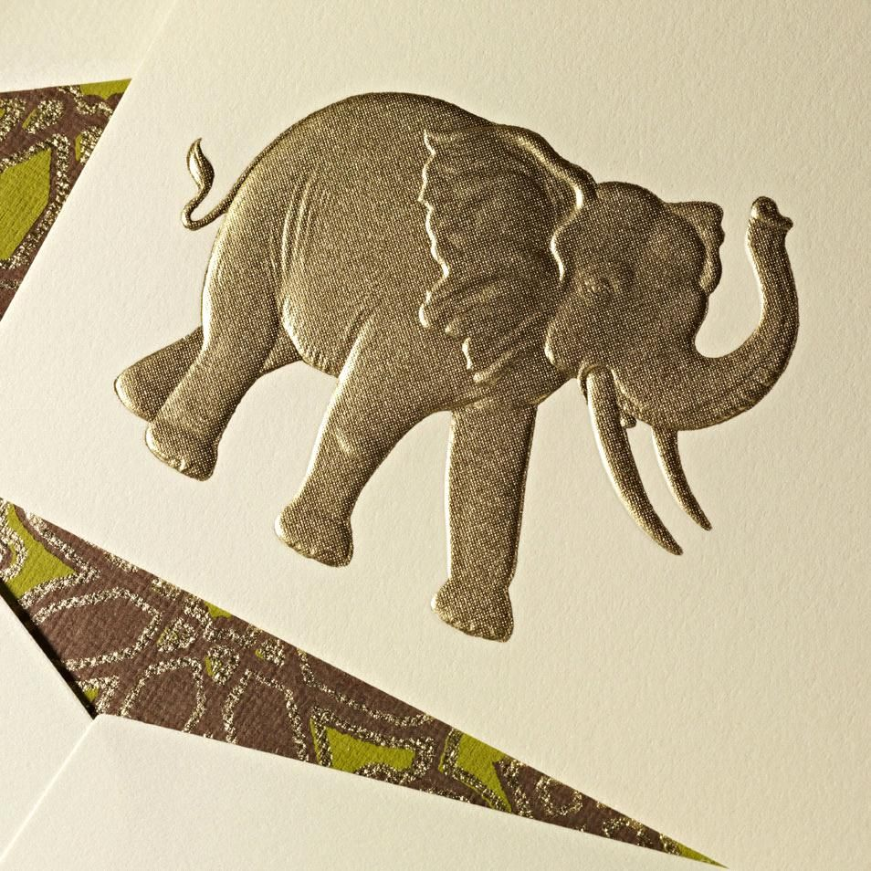 Hand engraved elephant correspondence cards the perfect hostess hand engraved elephant correspondence cards a symbol of wisdom and strength in asian culture the elephant was described by aristotle as the beast which biocorpaavc Gallery